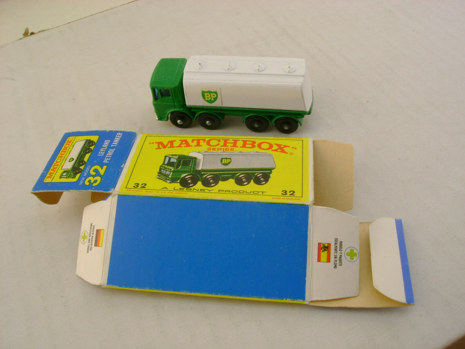 MATCHBOX LESNEY BP LEYLAND PETROL TANKER CHROME GRILL WITH ORIGINAL BOX