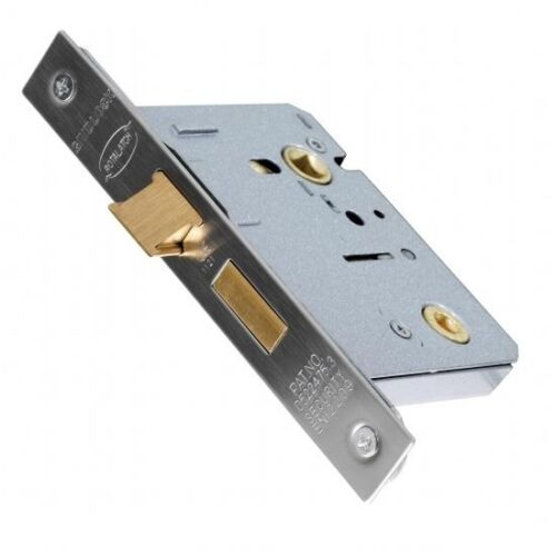 """75mm 3/"""" Mortice Bathroom Lock SSS//BZP C//w Strike Plate CE Marked for Fire Doors"""
