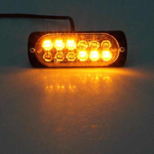 12LED Car Truck Strobe Flash Lamp Amber Emergency Warning Bar Light 12V-24V #