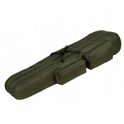Fishing Rod Tackle Holdall Bag Fits 3 Fishing Rods with Reels Olive Green