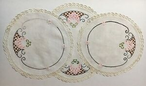 Set-of-3-Vintage-Linen-Hand-Embroidered-Doilies