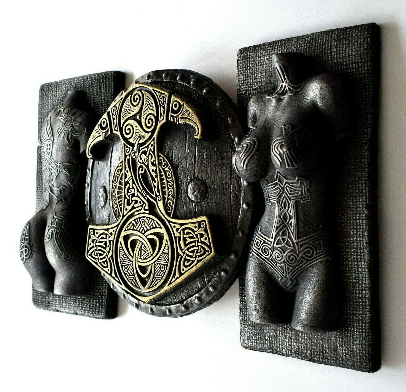 Viking Valkyrie Mjolnir Thor's Hammer torso y Hierro nórdica de latón Decoración de parojo Arte