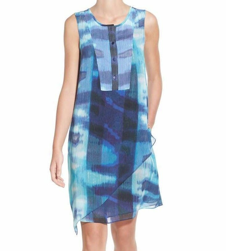 NWT NIC + ZOE SzM blueE LAGOON ASYMMETRIC HEM SLEEVELESS TUNIC DRESS MULTI