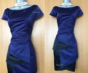 Vestido-De-Noche-Karen-Millen-Purpura-Negro-Satinado-Detalle-Plisado-De-Seda-Ocasion-Uk-10