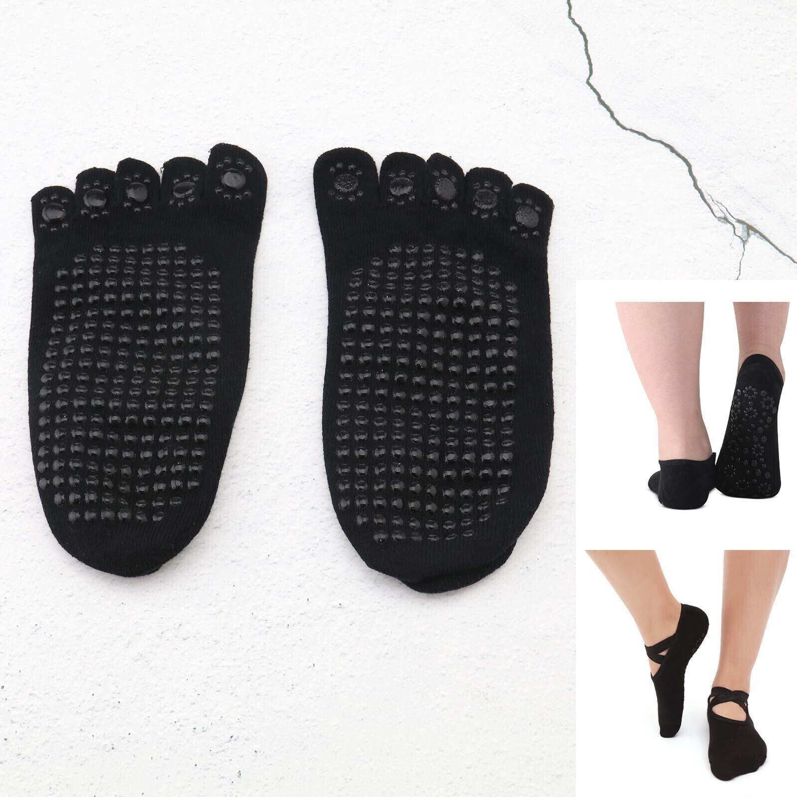 2 Paar Anti-Rutsch Yoga 5 Zehen Socken Set Damen Vollzehen Workout Grau +Schwarz