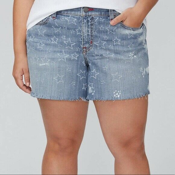 Lane Bryant Plus Size 28 Bleached Star Denim Girlfriend Short NWT FREE SHIP