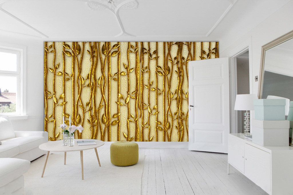 3D Goldene Zweige, Blätter  Fototapeten Wandbild Fototapete BildTapete FamilieDE