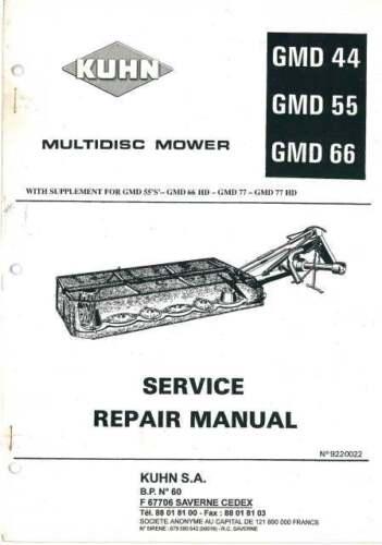 Kuhn Multidisc Cortadora gmd44 gmd55 gmd66 Manual De Taller