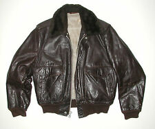 Vtg Schott Men's Brown Leather Aviator Flight Bomber Motorcycle Jacket, Sz 42