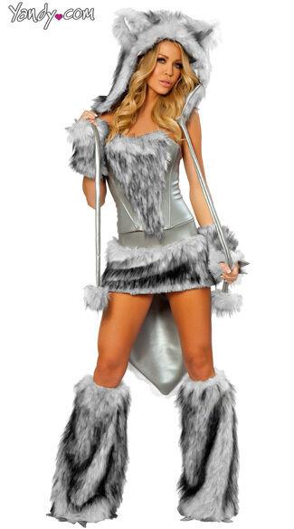 WOLF ANIMAL COSTUME WOMENS J VALENTINE CAT DELUXE SEXY 6 8 10 12 14 FUR