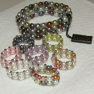 HONORA-Freshwater-Pearl-Bracelet-Ring-8-Piece-LOT-Sterling-Silver-925