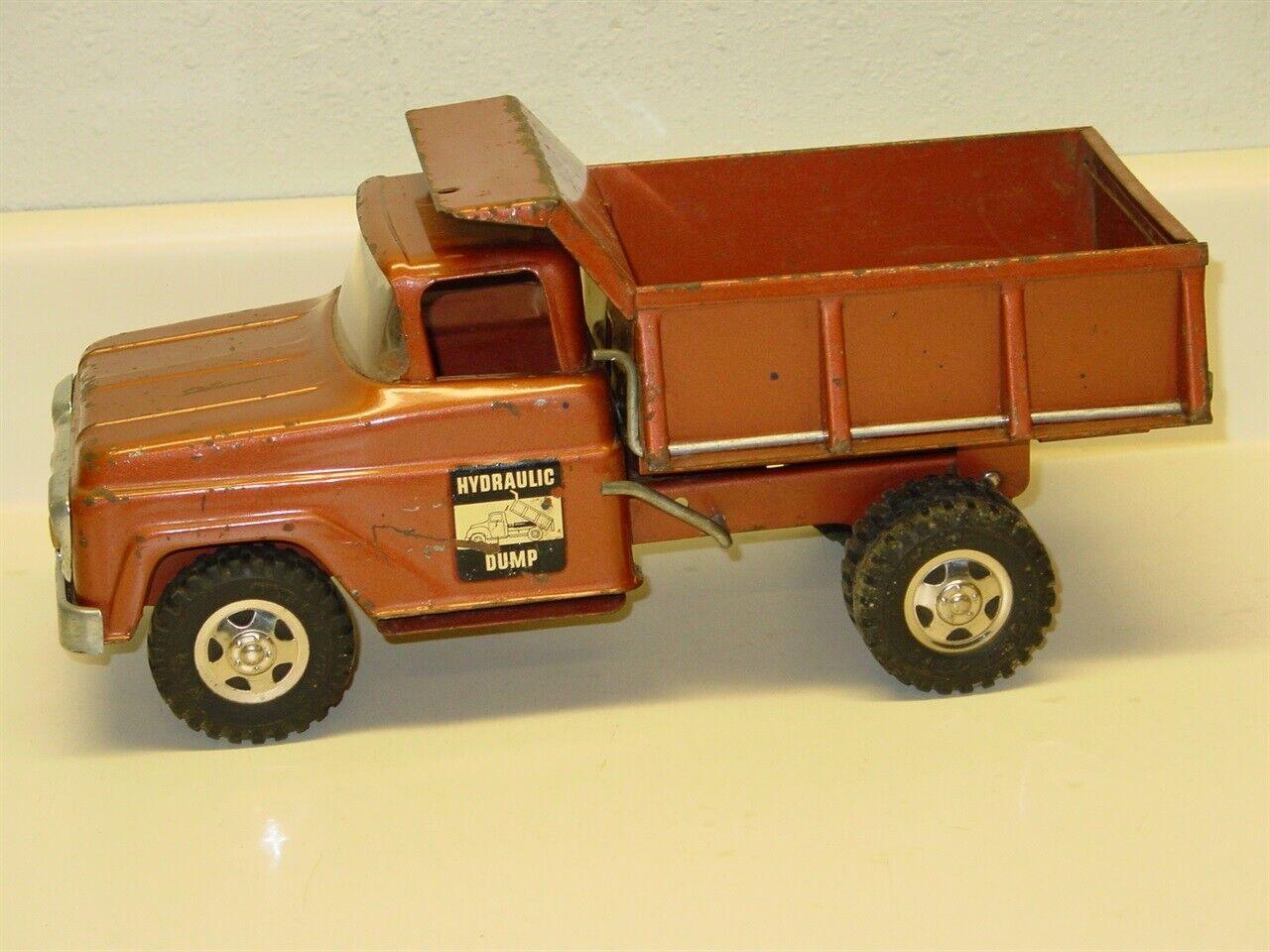 VINTAGE TONKA hydraulique camion benne, Pressé Acier Jouet Véhicule, bronze