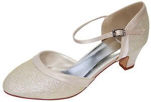 HBH-glitzernde-Brautschuhe-aus-Satin-Pumps-Lederriemchen-5cm-Absatz-Farbe-Beige