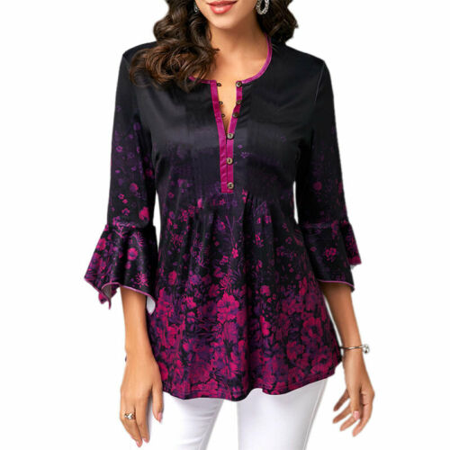 Plus Size Womens Gypsy Boho Long Sleeve Blouse Hippies UK Tops Outdoor T Shirts