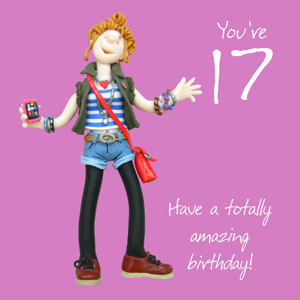 Happy 17 17th Birthday Card One Lump Or Two Fun Girl Teenager Pink