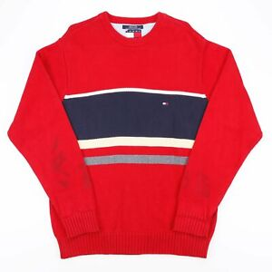 Vintage Tommy Hilfiger rot gestreift schwere Strick Baumwolle Pullover Herren Größe Large