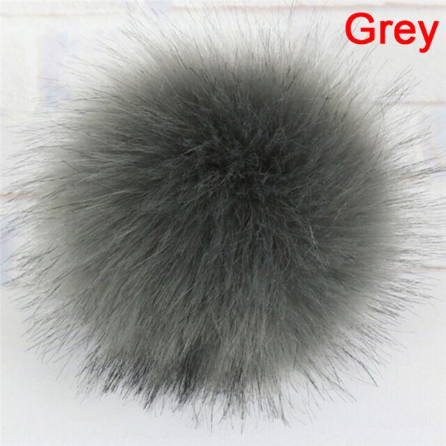 b90e8cb6619 1x Faux Fox Fur Pompom With Press Fake Fur Hat Bubble Removable ...