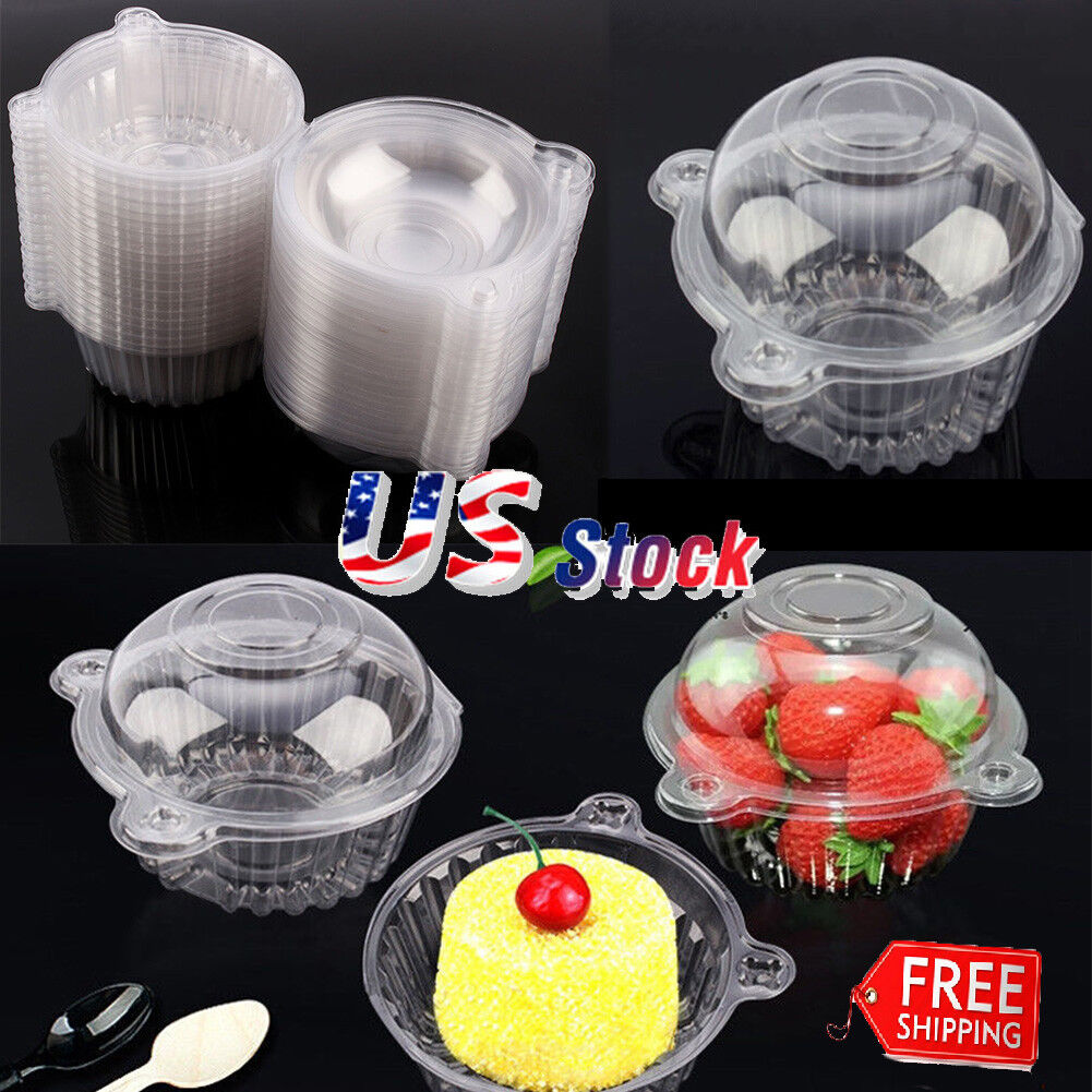 20 Sets Cupcake Carrier Muffin Single Individual Dome Container Box Plastic