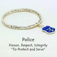 Police Mobius Bangle Police Charm Bracelet-& Inspirational Prayer Card