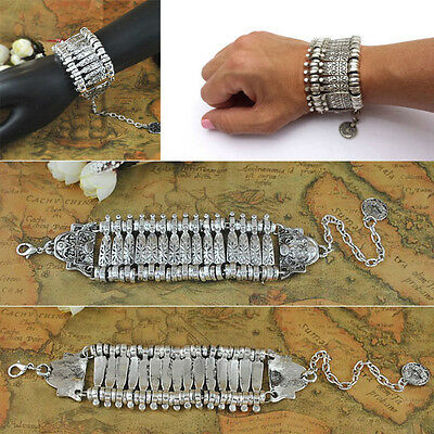 Gypsy Boho Festival Turkish Ethnic Style Silvery Statement Bracelet Coin Bangles