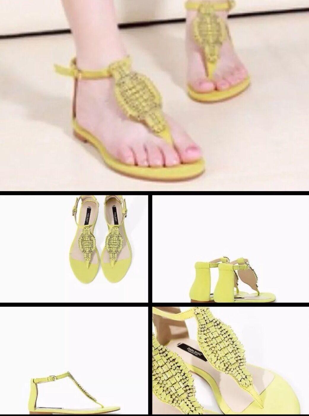 Zara Neon Giallo Lime Verde Sandali GIOIELLO Impreziosito pendente EURO 38