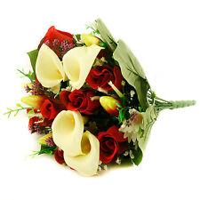 Artificial silk mixed flowers bouquet Calla Lilies Roses 40cm Burgundy Cerise