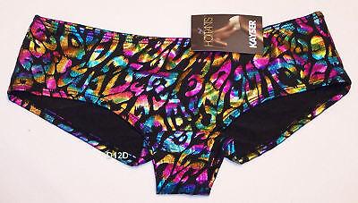 Kayser Ladies Confetti Black Silver Printed Hotpants Brief Size 8 New