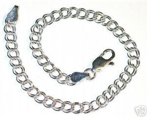 sz1-925-STERLING-SILVER-4mm-Double-Link-CHARM-BRACELET-7-034
