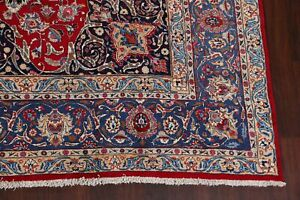 Excellent-Traditional-Floral-RED-BLUE-Kashmar-Area-Rug-Hand-Knotted-Wool-10x12