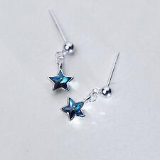 Ohrstecker mit Anhänger Blauer Stern echt Sterling Silber 925 Kristall Ohrringe