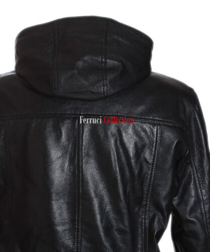 70/'s Classic Hooded Black Men/'s Smart Vintage Real Soft Lambskin Leather Jacket