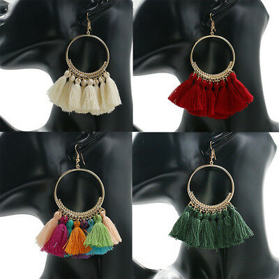 Women Fashion Bohemian Earrings Long Tassel Fringe Boho Dangle Earrings Jewelry
