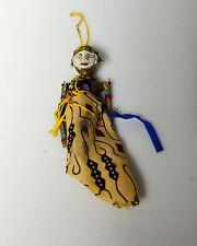 "Vintage Indonesian Wayang Golek Puppet Doll  Wood Rod Stick 6"" Purple Dress Top"