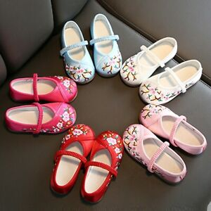 Toddler-Infant-Kids-Baby-Girls-Embroidery-Floral-Flower-Single-Princess-Shoes