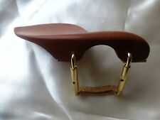 BROWN VIOLIN CHIN REST WITH GOLD COLOUR CORKED CLAMP, NEW, 4/4, UK SELLER!