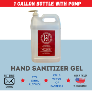 1 Gallon Gel Hand Sanitizer With Pump   75% Alcohol   Made in USA