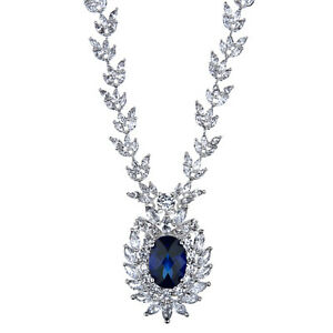 Asteria's Fancy Necklace Engagement & Wedding Bridal & Wedding Party Jewelry Faux Sapphire Fine Craftsmanship