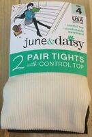 Womens June & Daisy Eggshell/ Brown 2 Pair Tight With Control Top Size 4