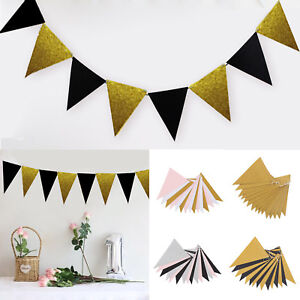 Gold-Glitter-Paper-3M-15-Flags-Banner-Pennant-Bunting-Festival-Party-Home-Decor