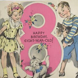 Vintage-Mid-Century-Birthday-Greeting-Card-Rust-Craft-Cute-Little-Boy-Girl-8-Yrs