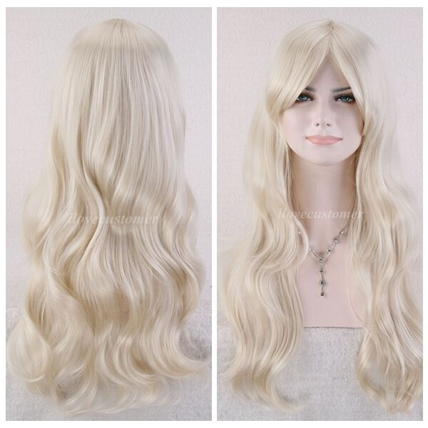 Sexy Blonde Long Wavy Women New Synthetic Heat Resistant Cosplay Hair Full Wigs