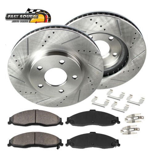 Front Kit Drilled And Slotted Brake Rotors /& Ceramic Pads For Infiniti Nissan