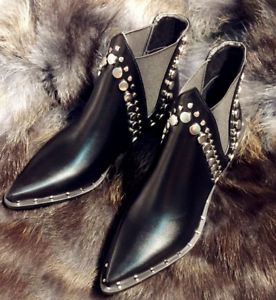Women Pull On  Pointed Toe Mid Heel Ankle Riding Boots Rivet shoes Zsell
