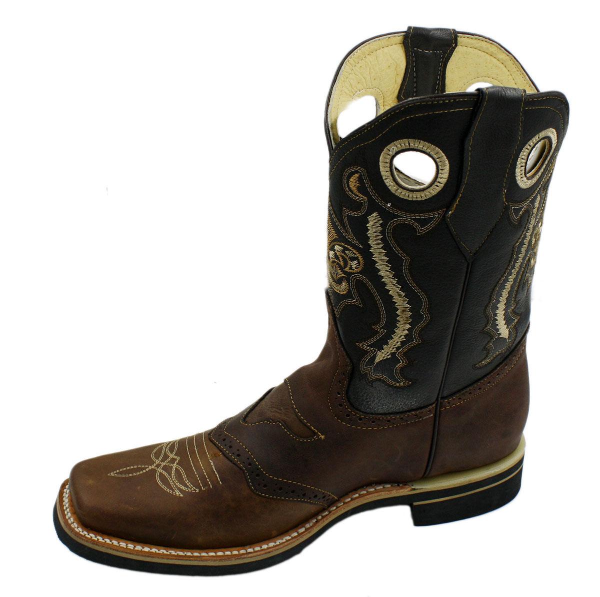 Uomo Senuine Quality Cowhide Pelle Cowboy Western Stivali Style CR 454