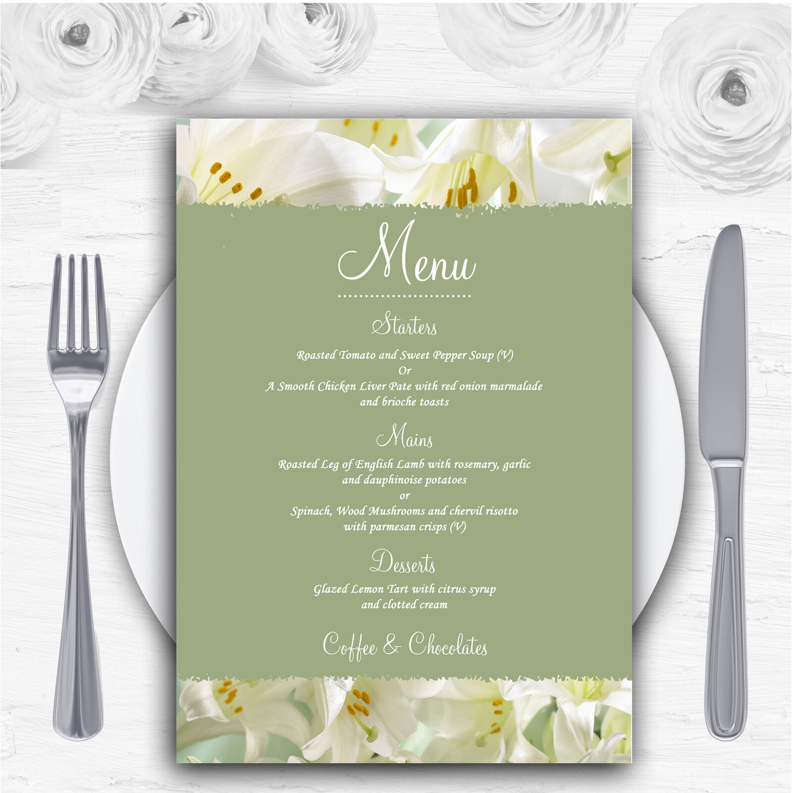 Weiß And Grün Calla Lily Personalised Wedding Menu Cards