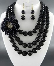 Three Layers Black Lucite Bead Gradual Side Flower Necklace Earring
