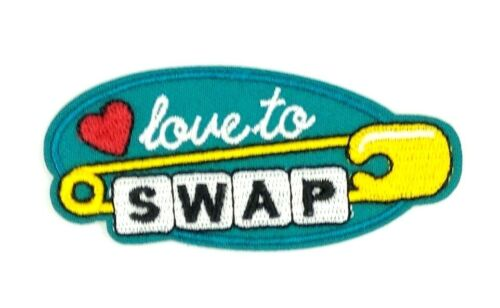 us seller LOVE TO SWAP Patch Iron Sew On Embroidered 1594