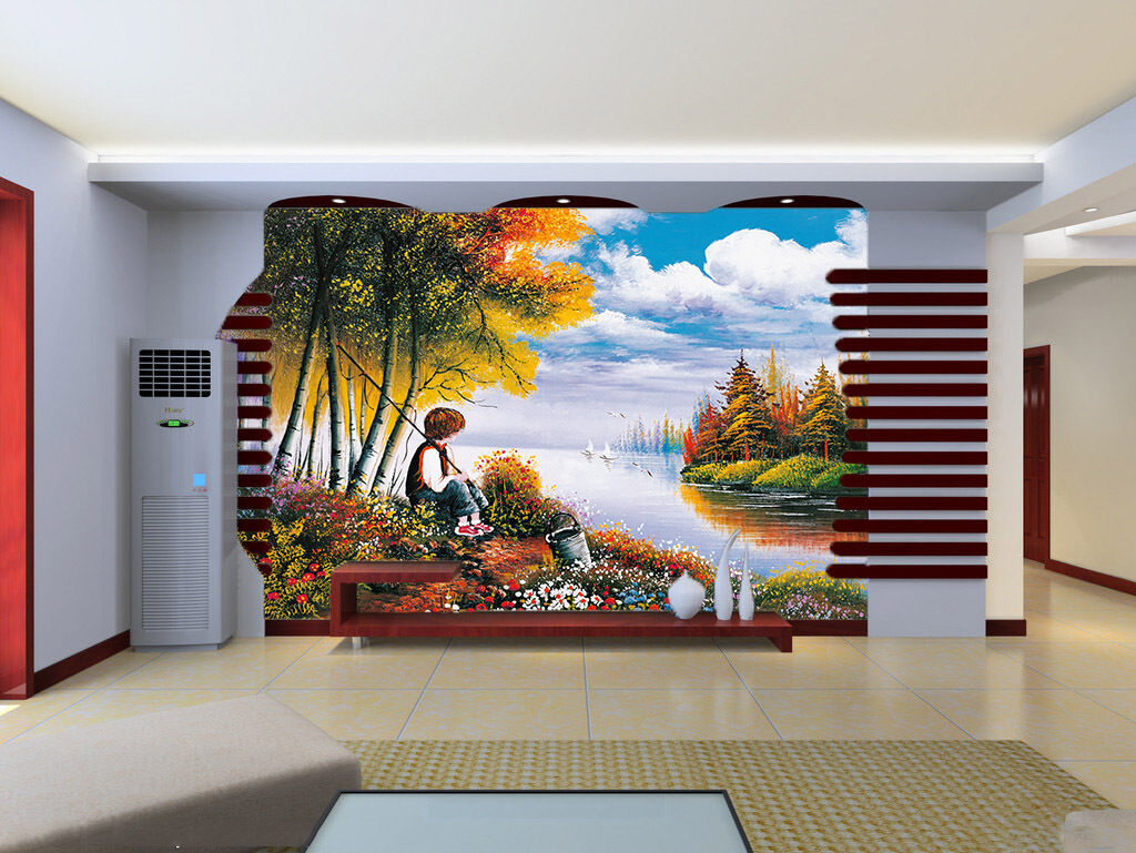 3D Forest River Fishing Paper Wall Print Wall Decal Wall Deco Indoor Murals