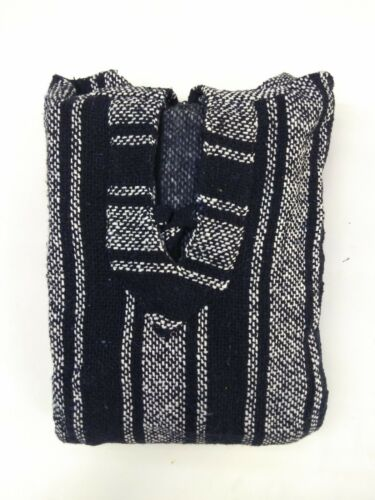 NEW Mexican Poncho Baja Hoodie Surfer Skater Drug Rug Pullover Made in Mexico