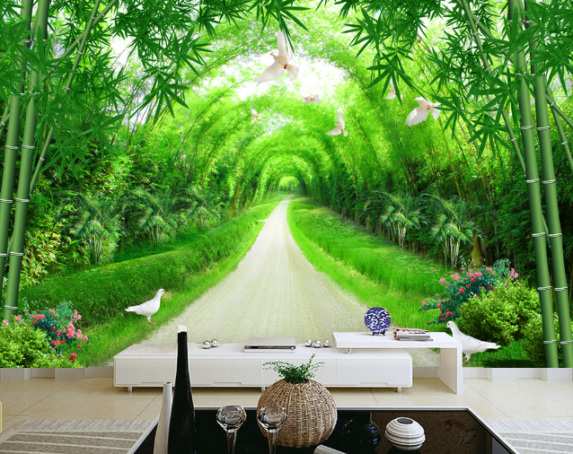 Papel Pintado Mural De Vellón Bambú Corredor De Bambú Vellón Verde 2 Paisaje Fondo Pantalla 2aff03